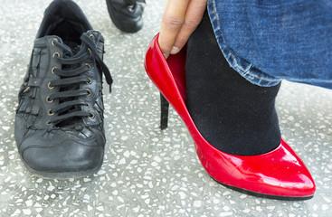 Man Walking in Woman's