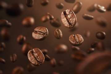 Whole Coffee Beans Falling-Image